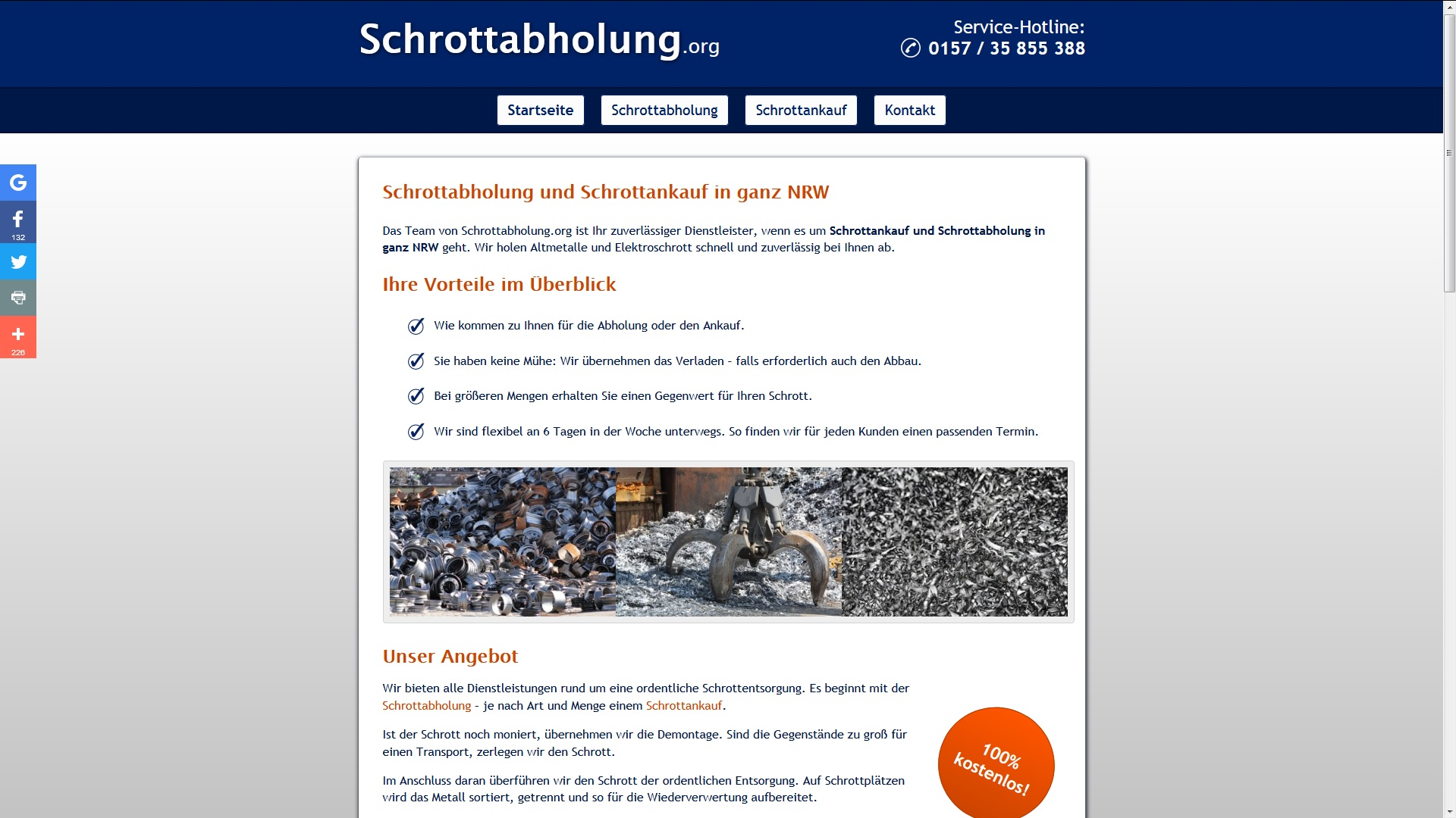 Kostenlose Schrottabholung in NRW